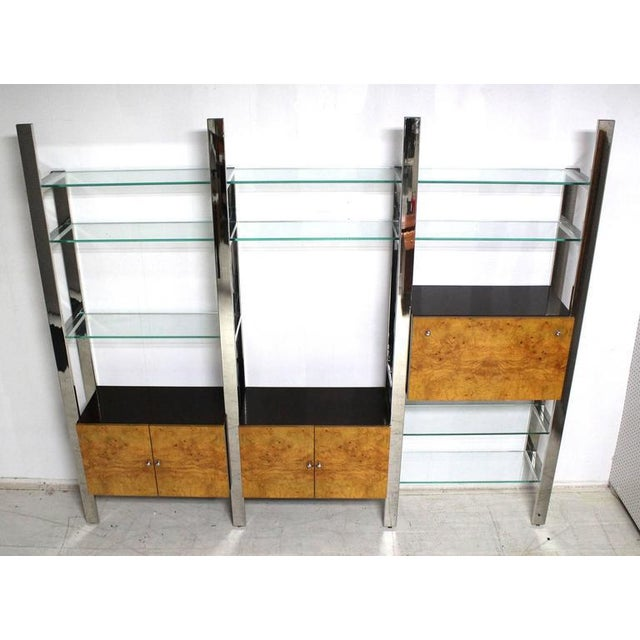 Surprising Burl Wood Thick Glass Shelves 3 Bay Wall Unit Home Interior And Landscaping Ferensignezvosmurscom