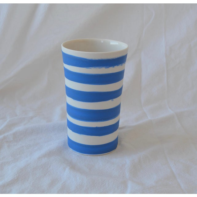 Contemporary Ceramic Striped Cylindrical Vessels - Group of 6 For Sale - Image 4 of 11