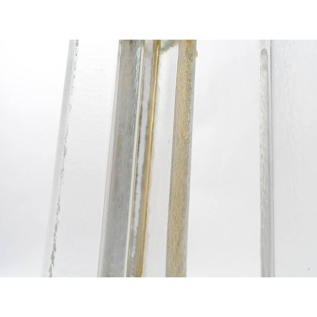 Metal Cast Textured Glass Column Table Lamps For Sale - Image 7 of 8