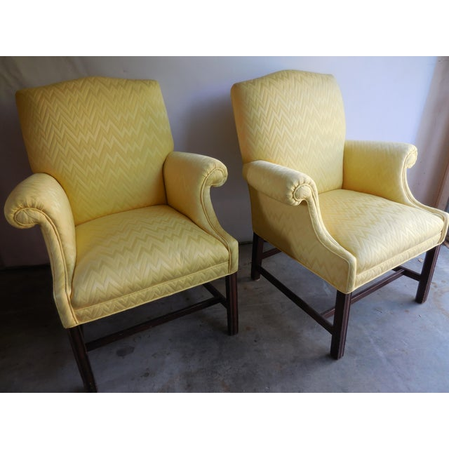 Vintage Yellow Fabric Bergere Chairs - A Pair - Image 7 of 7