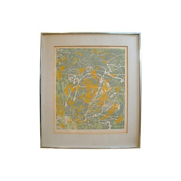 """Chrome Abstract Monoprint Painting, """"New York 1:00 Am,"""" 1976 For Sale - Image 7 of 7"""