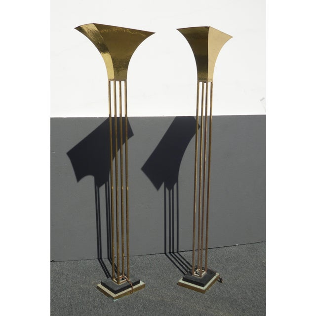 Mid-Century Art Deco Brass Plated Torchiere Floor Lamps - a Pair - Image 4 of 11