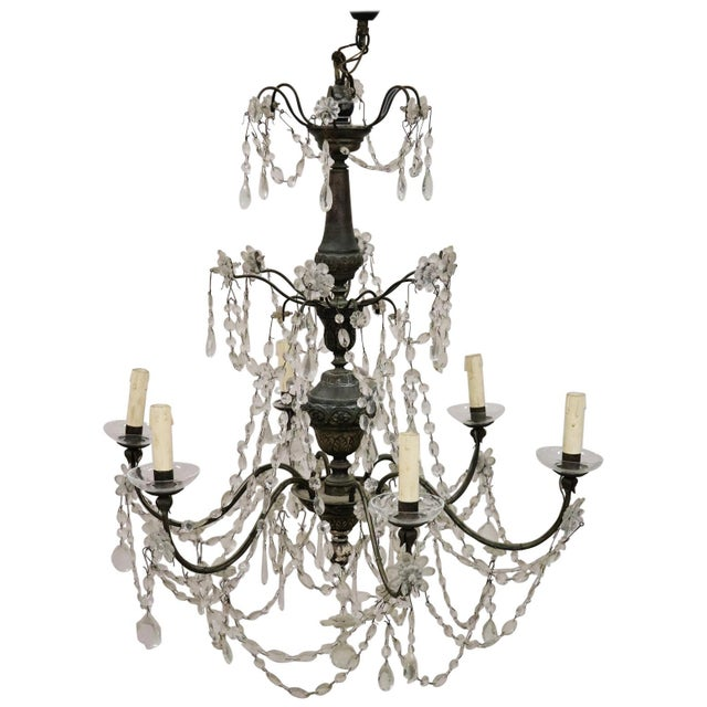 18th Century Italian Louis XVI Crystals Antique Chandelier For Sale - Image 12 of 12