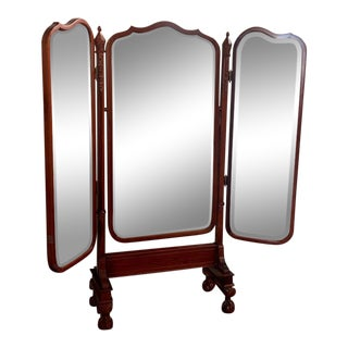 1940s Carved Cherry Wood Trifold Mirror For Sale