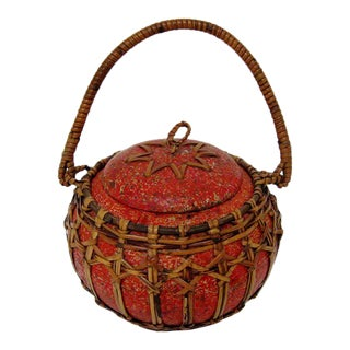 Round Container with Wicker Accents For Sale