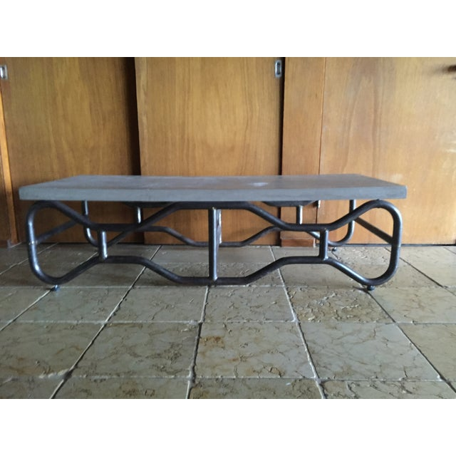 Industrial Modern Concrete and Metal Coffee Table - Image 5 of 5