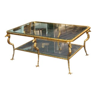 Modern Glass Coffee Table With Eagle Legs For Sale