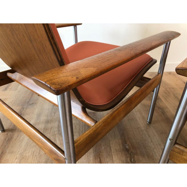 Mid-Century Modern Vintage Sven Ivar Dysthe Norwegian Armchairs With New Upholstery - a Pair For Sale - Image 3 of 9