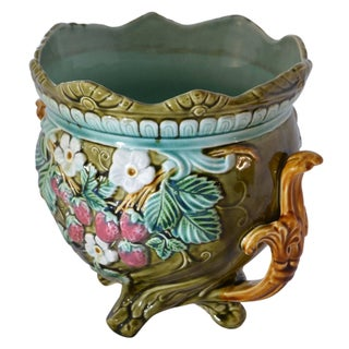 Antique Onnaing Majolica Jardinière Bowl With Strawberry Accents Preview