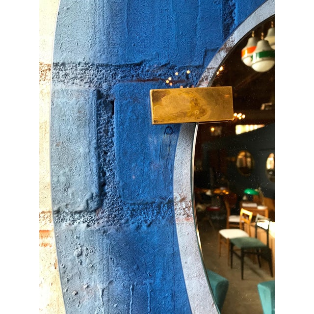1950s Fontana Arte Rare Light Blue Sculptural Wall Mirror by Max Ingrand, Italy, 1958 For Sale - Image 5 of 10