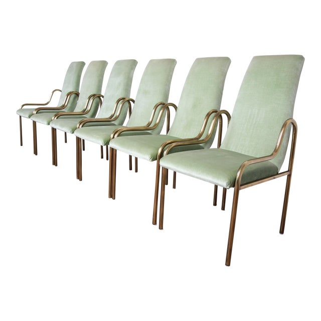 Mastercraft Hollywood Regency Brass Dining Chairs, Set of Six For Sale