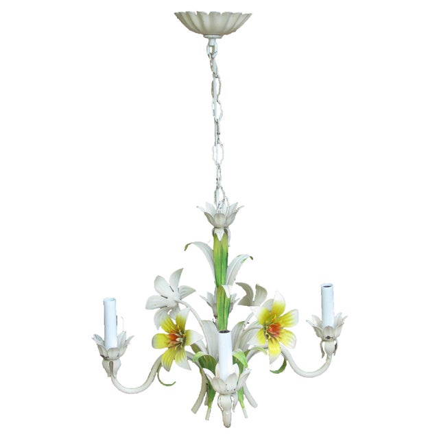 Italian Tole Floral Chandelier, C. 1960 For Sale - Image 4 of 5