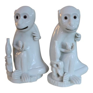 Pair of Vintage Blanc De Chine Monkeys by Mottahedeh