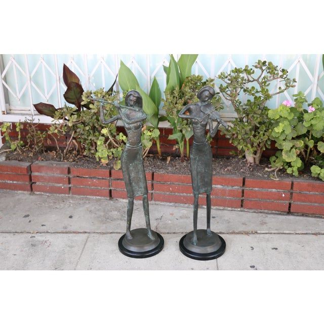 Figurative Bronze and Marble Pair of Musician Table Statues For Sale - Image 3 of 11