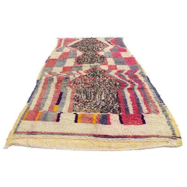20598 Vintage Berber Moroccan Azilal Rug with Post-Modern Memphis Style 3'10 x 7'01. This vintage Berber Moroccan Azilal...