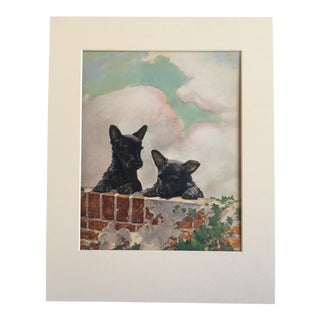 "Vintage Diana Thorne Dog Print ""Scottish Terrier Puppies"""