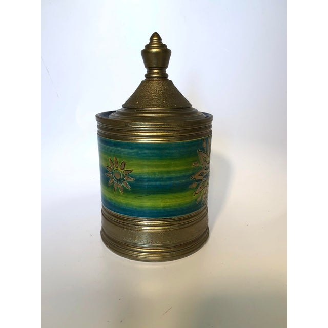 Italian Rosenthal Netter Bitossi Blue and Green Jar For Sale - Image 3 of 10