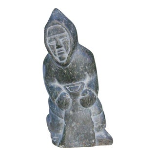 1970's Inuit Eskimo Soapstone Carving of a Native American For Sale