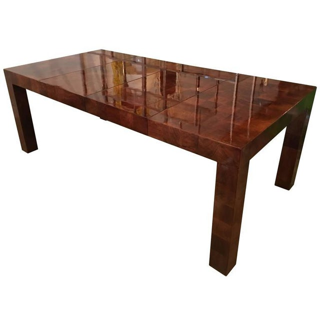 Wood Dining Table For Sale: Exquisite Milo Baughman Burl Wood Parsons Patchwork Dining