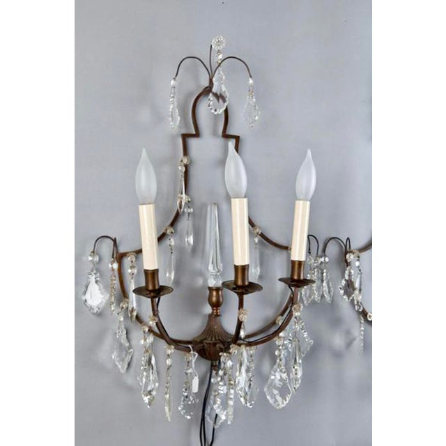 Pair French Delicate Three Light Metal and Crystal Sconces - Image 3 of 6