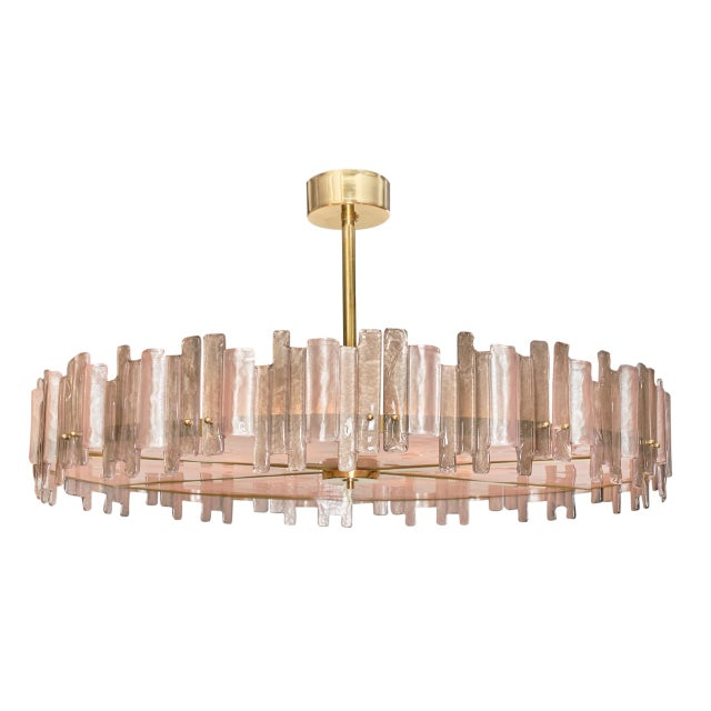Metal Pink Mazzega Murano Glass Chandelier For Sale - Image 7 of 10