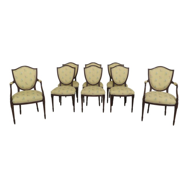 Shield Back Style Upholstered Dining Room Chairs- Set of 8 For Sale