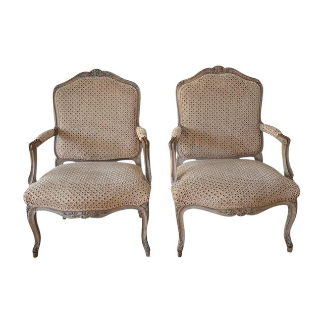 French Upholstered Bergere Chairs- A Pair - Image 1 of 10