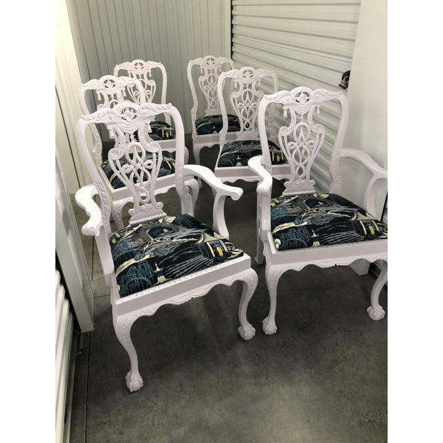 Exquisite chairs. Heavy Chippendale chairs professionally lacquered in Silver Peony color by Sherwin Williams. Seats...