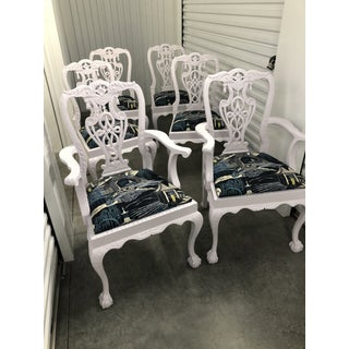 Modern Lacquered Chippendale Chairs Upholstered in Robert Allen Neo Toile Set of 6 Preview