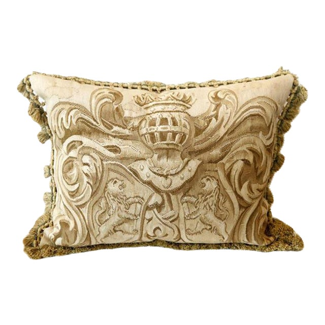 Amorial with Lions Aubusson Pillow - A Pair For Sale