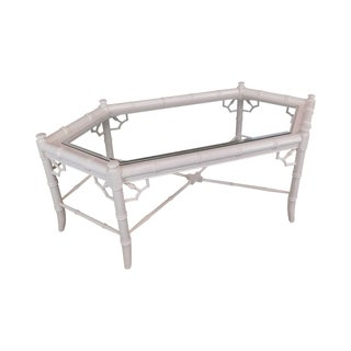 Faux Bamboo White Painted Glass Top Coffee Table For Sale