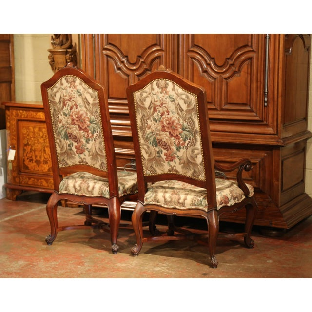 French Carved Walnut and Fruitwood Dining Chairs and Armchairs - Set of 8 For Sale - Image 11 of 13