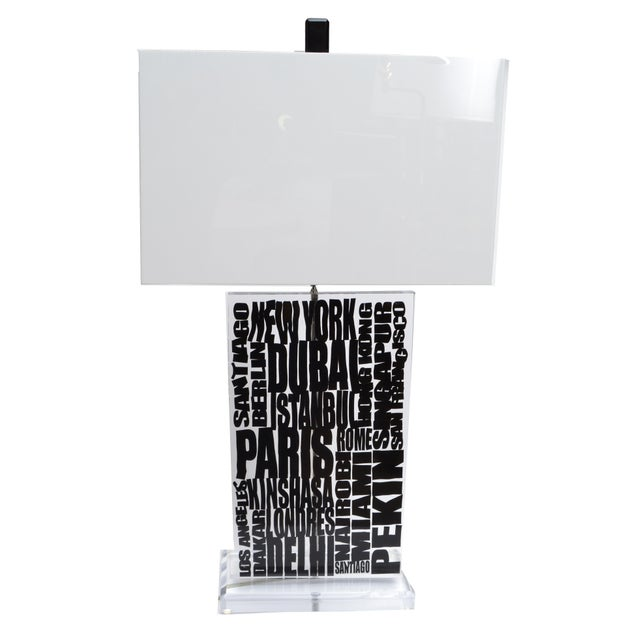 White Unique Cities Lucite Table Lamp with Acrylic Shade For Sale - Image 8 of 8