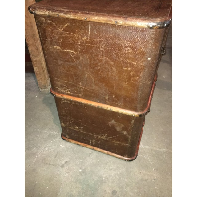 Antique Double Lock European Oak Banded Trunk - Image 8 of 11