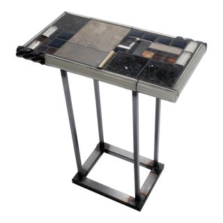 """Poseidon"" Mosaic Tile and Metal Small Console Table For Sale"