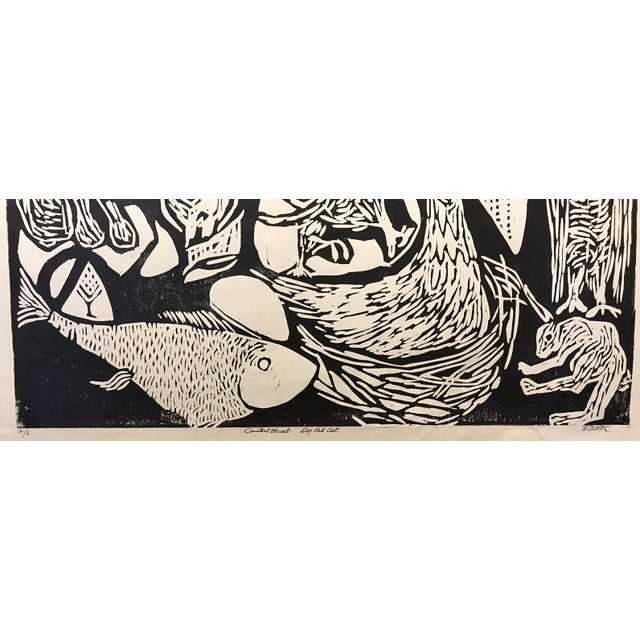 "Clay Walker ""Constant Threat - Dog Eats Cat"" Woodcut Print - Image 4 of 4"