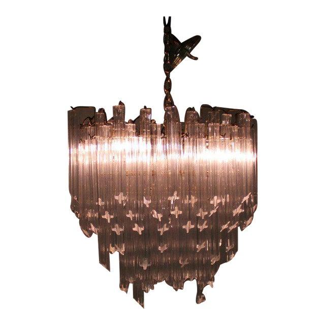 Camer Mid-Century Modern Murano Chandelier Glass Prisms Light Fixture For Sale
