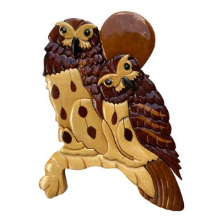 Mid 20th Century Rustic Handmade Wooden Owl Wall Decor For Sale