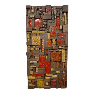 1960s Ceramic Tile and Wood Assemblage For Sale