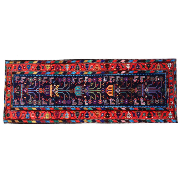 "Mid-Century Modern Persian Rug - 3'7"" x 9'7"" - Image 8 of 8"
