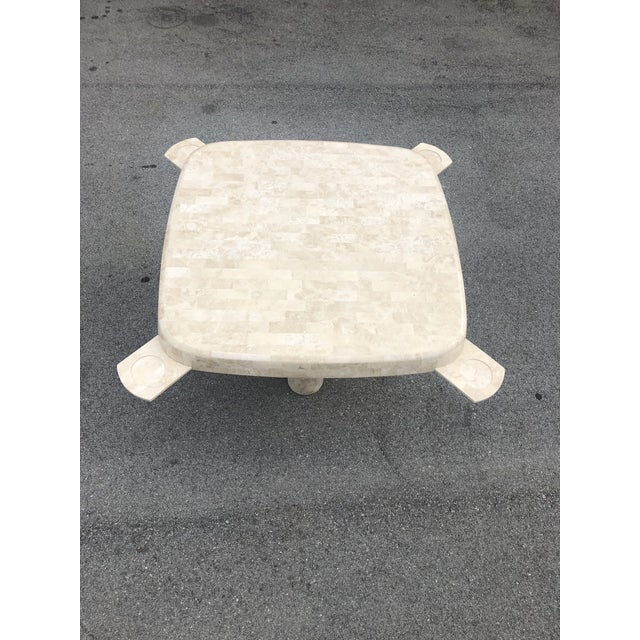 Karl Springer Post Modern Tessellated Fossilized Marble Game Table For Sale - Image 4 of 12