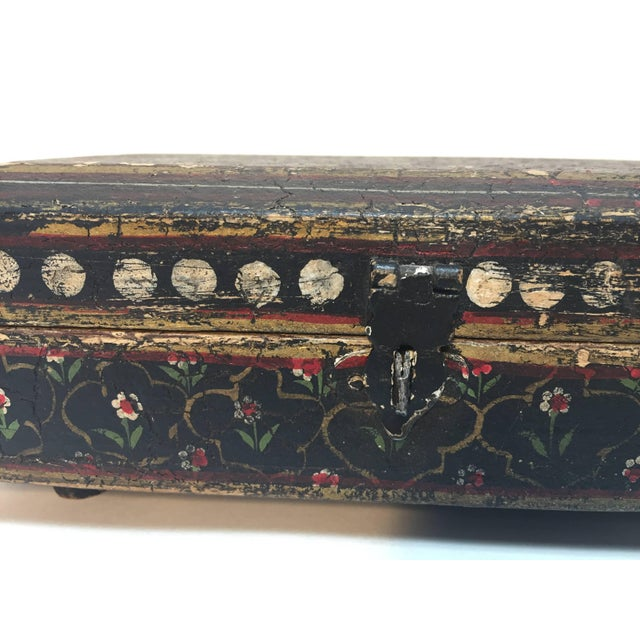 Rajhastani Hand-Painted Decorative Footed Tea Box For Sale - Image 4 of 10