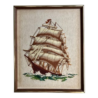 Framed Mid-Century Crewel Embroidery Ship For Sale