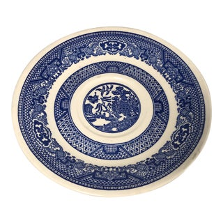 1960s Vintage Blue and White Willow Pattern Plate Saucer For Sale