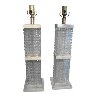1960's Italian Mid-Century Modern Marbro Attributed Glass and Marble Lamps- a Pair For Sale