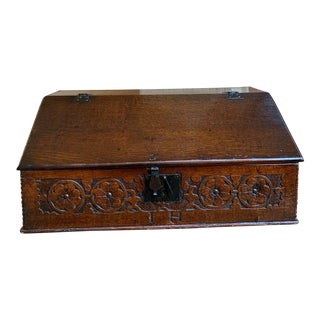 Antique English Pine Oak Bible Box For Sale