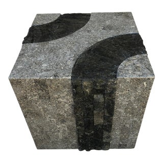 Maitland-Smith Tessellated Marble Stone Cube Accent Table For Sale