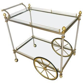 Large Italian Neoclassic Brass and Brushed Steel Bar / Tea Cart For Sale
