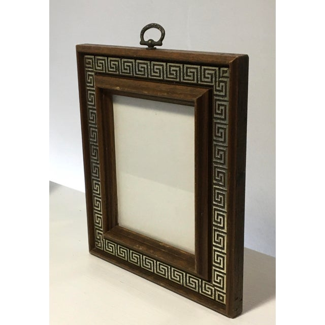 Vintage Brass Ring Wood Picture Frame with Greek Key Border For Sale - Image 4 of 9