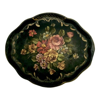 Antique French Floral Hand Painted Tole Tray